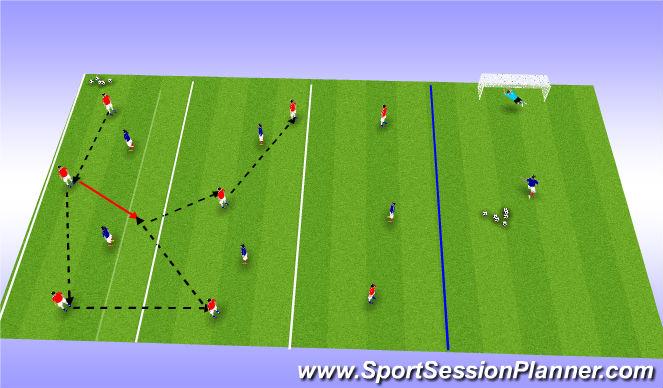 Football/Soccer Session Plan Drill (Colour): 8v5 Possession