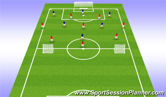 Football/Soccer Session Plan Drill (Colour): 8v6
