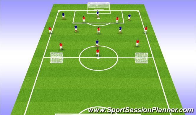 Football/Soccer Session Plan Drill (Colour): 8v6