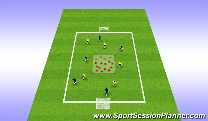 Football/Soccer Session Plan Drill (Colour): 5v5 with central restriction