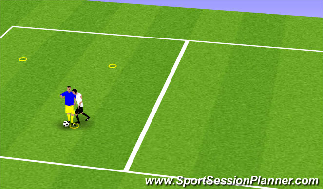 Football/Soccer Session Plan Drill (Colour): 1v1 ball protection