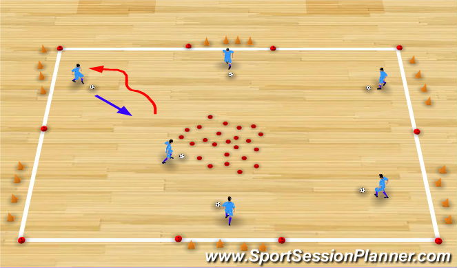 Futsal Session Plan Drill (Colour): Let's grow a flower
