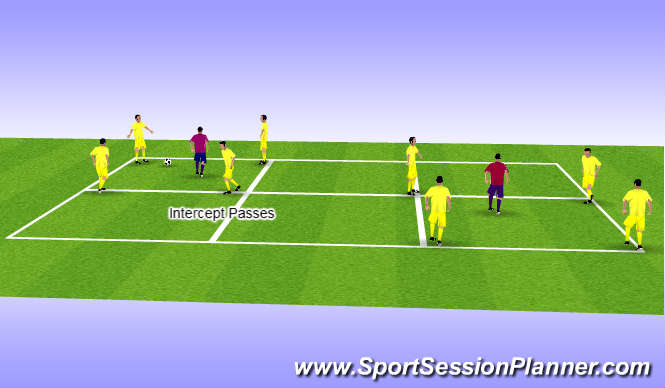 Football/Soccer Session Plan Drill (Colour): Squares 4 v 1