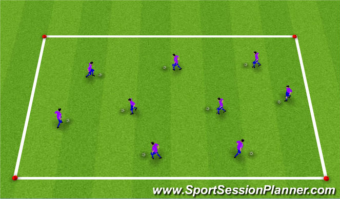 Football/Soccer Session Plan Drill (Colour): Warm-Up: Dribbling & Ball Mastery