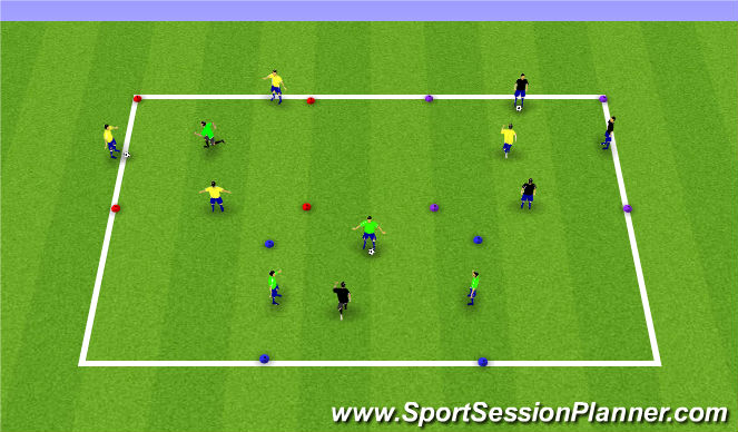 Football/Soccer Session Plan Drill (Colour): 3v1 Rondo Rotation