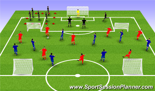 Football/Soccer Session Plan Drill (Colour): 4 goal possession