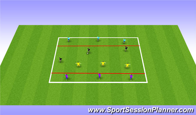 Football/Soccer Session Plan Drill (Colour): 4 Team Transition