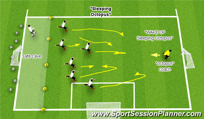 Football/Soccer Session Plan Drill (Colour): Sleeping Octopus