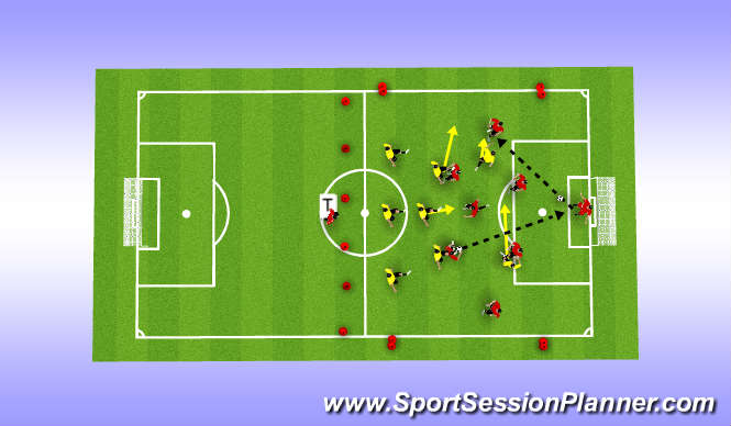 Football/Soccer Session Plan Drill (Colour): In the Initial Game Phase, coach to improve a team's understanding of winning the ball early