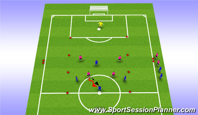 Football/Soccer Session Plan Drill (Colour): Function: Working with the Lone Striker