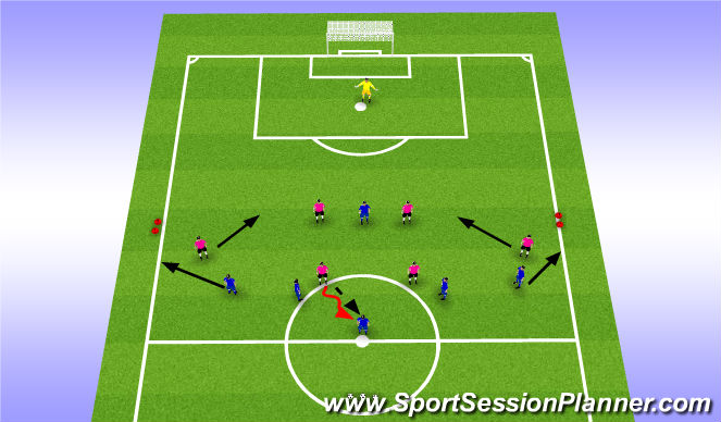 Football/Soccer Session Plan Drill (Colour): Phase: Working with the Lone Striker