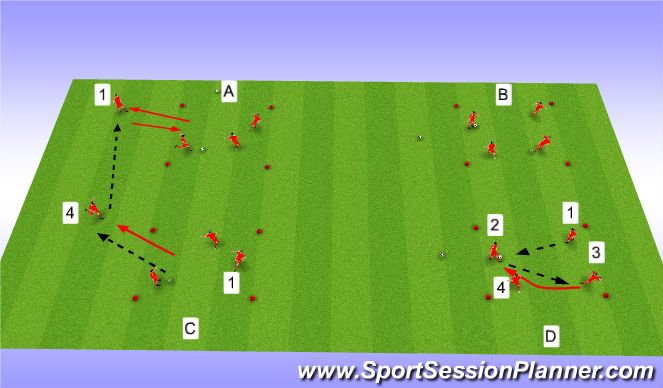 Football/Soccer Session Plan Drill (Colour): Sequential Passing