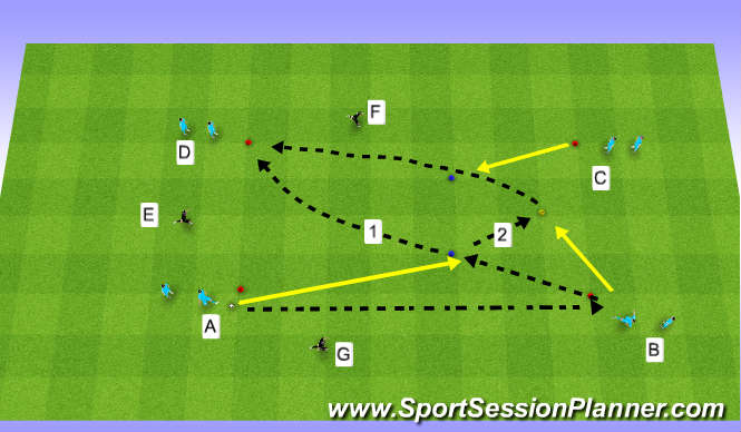 Football/Soccer Session Plan Drill (Colour): passing and move 2