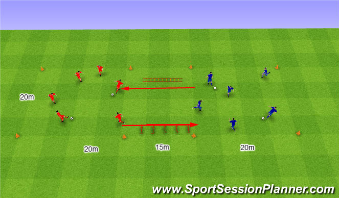 Football/Soccer Session Plan Drill (Colour): Warm up 11. Rozgrzewka nr 11.