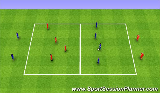 Football/Soccer Session Plan Drill (Colour): 4v4+2 shifting game. 4v4+2 przesuwanie.