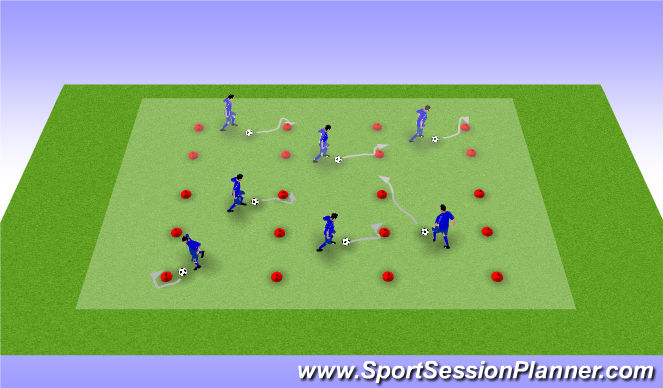 Football/Soccer Session Plan Drill (Colour): Hütchenwald (Ballarbeit) 1
