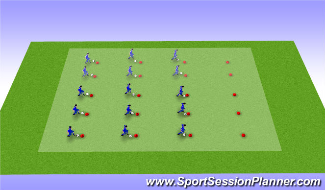 Football/Soccer Session Plan Drill (Colour): Hütchenwald (Ballarbeit) 2