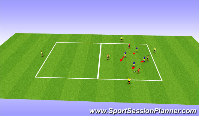 Football/Soccer Session Plan Drill (Colour): Activation Rondo - Press The Bal