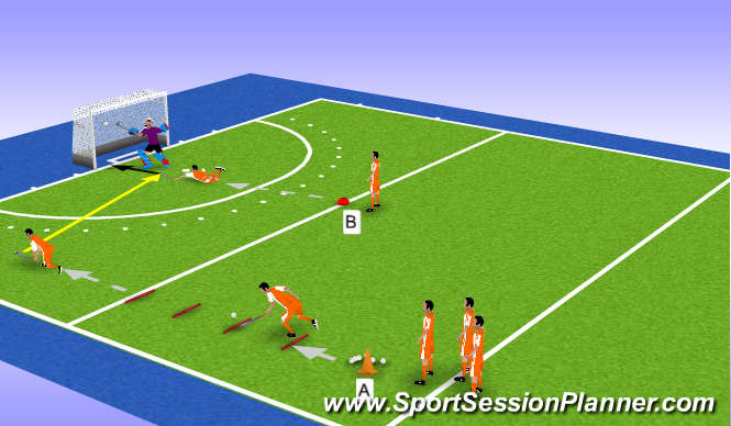 Hockey Session Plan Drill (Colour): Low backhand