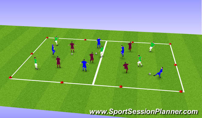 Football/Soccer Session Plan Drill (Colour): Unnopposed
