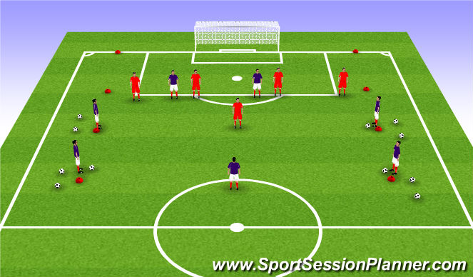 Football/Soccer Session Plan Drill (Colour): Start Positions