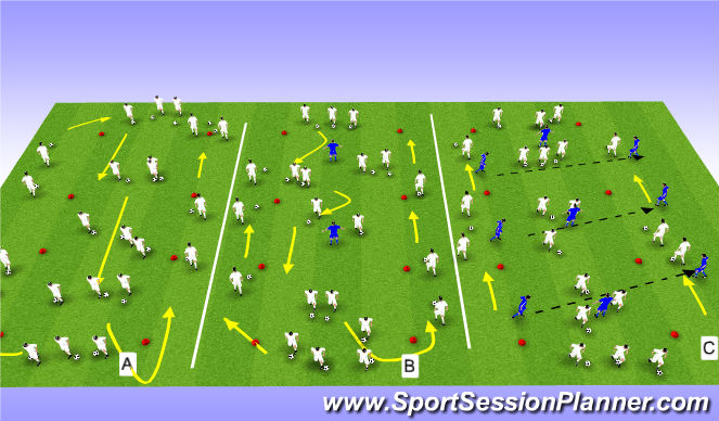 Football/Soccer Session Plan Drill (Colour): Warm-up;Skills corridor
