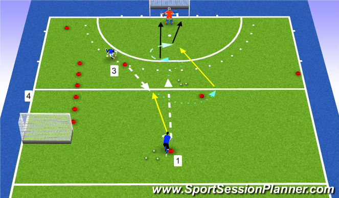 Hockey Session Plan Drill (Colour): Warming Up 1