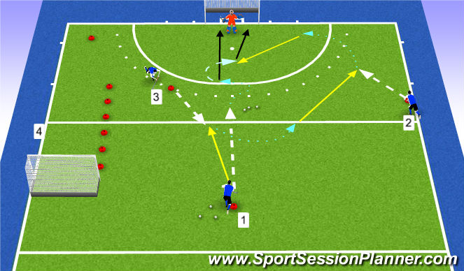 Hockey Session Plan Drill (Colour): Warming Up 2