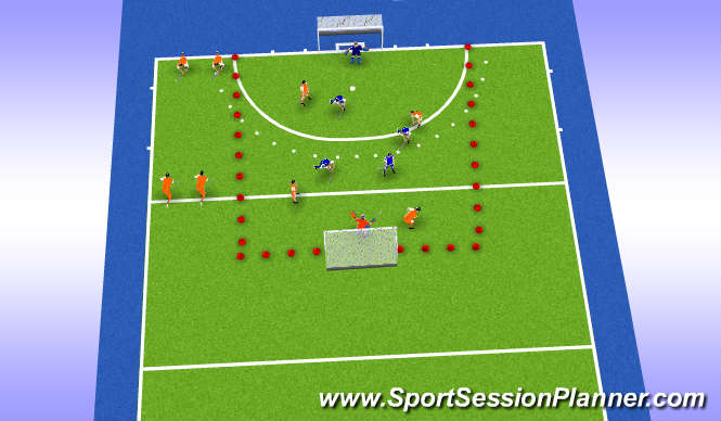 Hockey Session Plan Drill (Colour): Play the situation! Up or Down?!