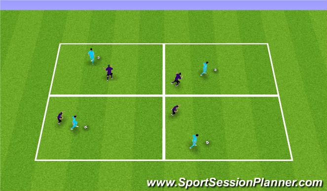 Football/Soccer Session Plan Drill (Colour): 1v1 shielding