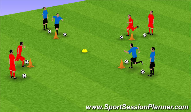 Football/Soccer Session Plan Drill (Colour): Exercise 3: Diamond Cooperation