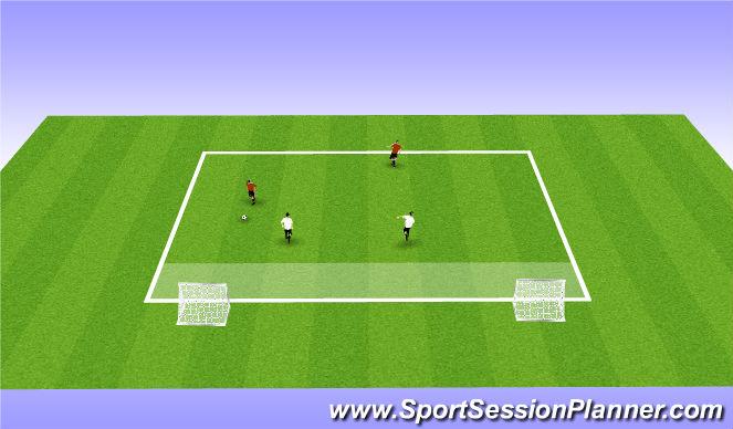 Football/Soccer Session Plan Drill (Colour): 2v2 2 goals
