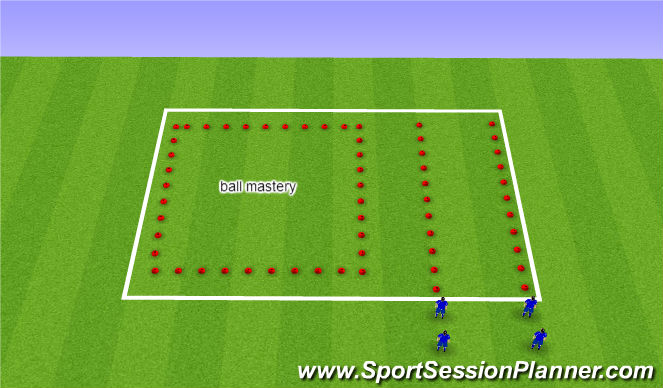 Football/Soccer Session Plan Drill (Colour): w/up with ball mastery