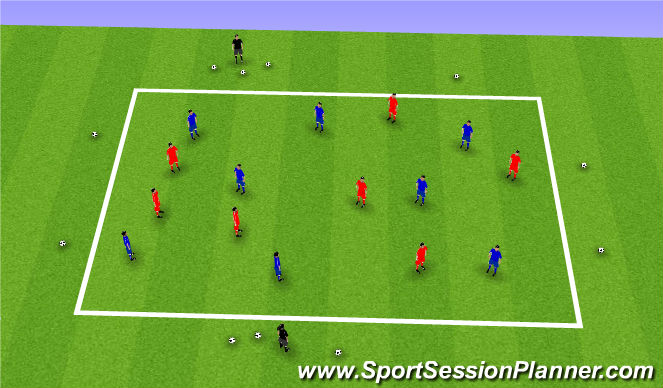 Football/Soccer Session Plan Drill (Colour): 1v1 work/possession