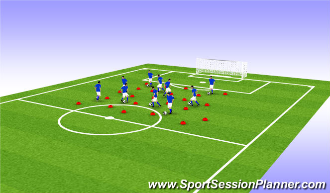Football/Soccer Session Plan Drill (Colour): running with ball dribbling