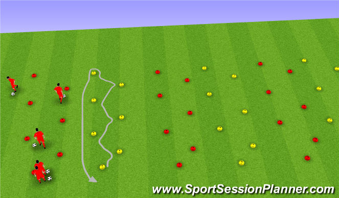 Football/Soccer Session Plan Drill (Colour): Diagonal Dribbling with Moves