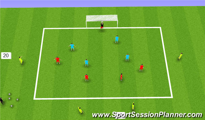 Football/Soccer Session Plan Drill (Colour): possesion to finish