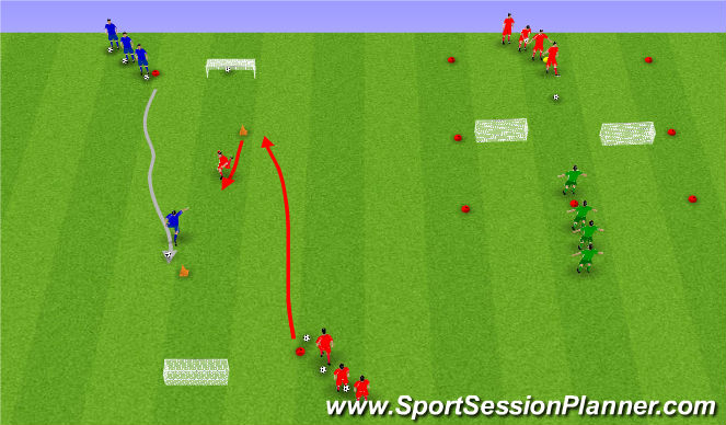 Football/Soccer Session Plan Drill (Colour): Skotkeppni og einn á einn.