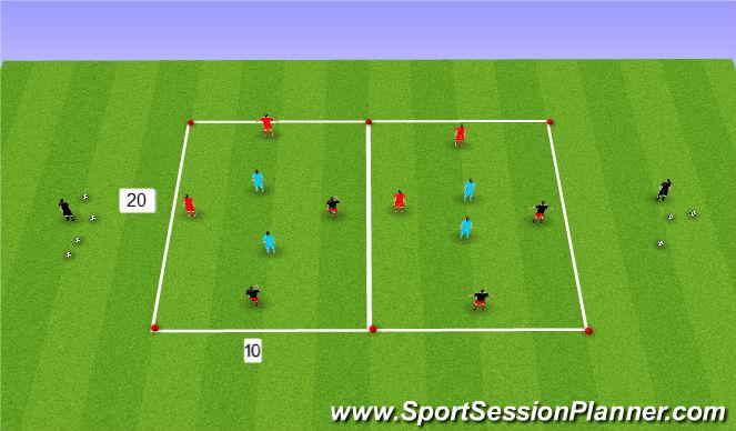 Football/Soccer Session Plan Drill (Colour): 4 v 2