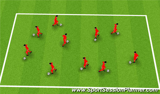 Football/Soccer Session Plan Drill (Colour): Touch Step Dribbling