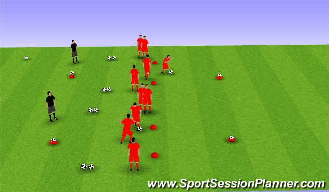 Football/Soccer Session Plan Drill (Colour): Soccer Wars - Change Direction