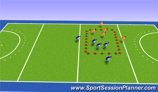 Hockey Session Plan Drill (Colour): Partij vorm 1