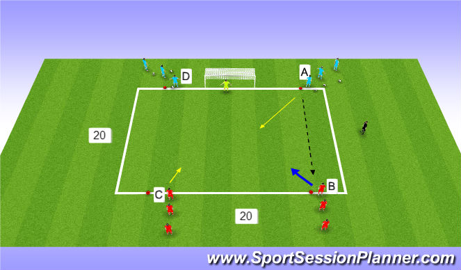Football/Soccer Session Plan Drill (Colour): 2 v 1 to finish