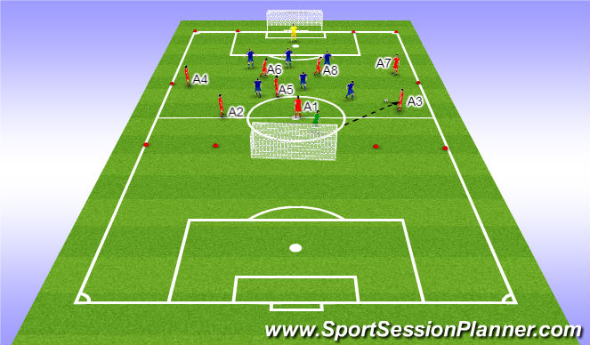 Football/Soccer Session Plan Drill (Colour): Crossing and finishing using full backs, wingers and 2 strikers