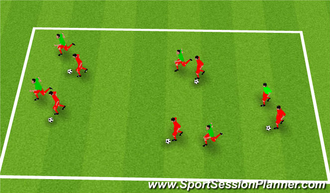 Football/Soccer Session Plan Drill (Colour): Performing Skills Against Passive Defenders