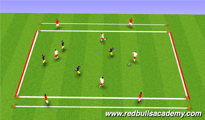 Football/Soccer Session Plan Drill (Colour): Conditioned Game - 1-2 Pass