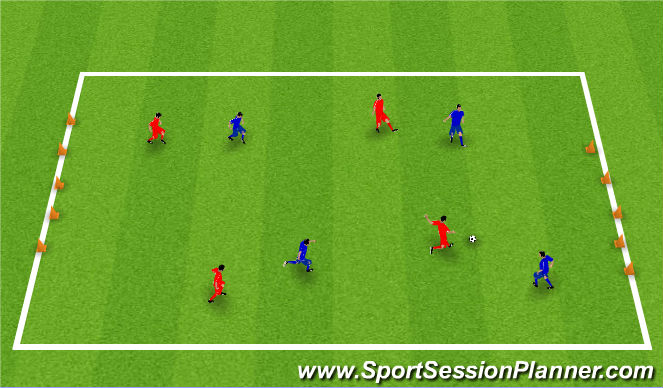 Football/Soccer Session Plan Drill (Colour): Turning Cone Game