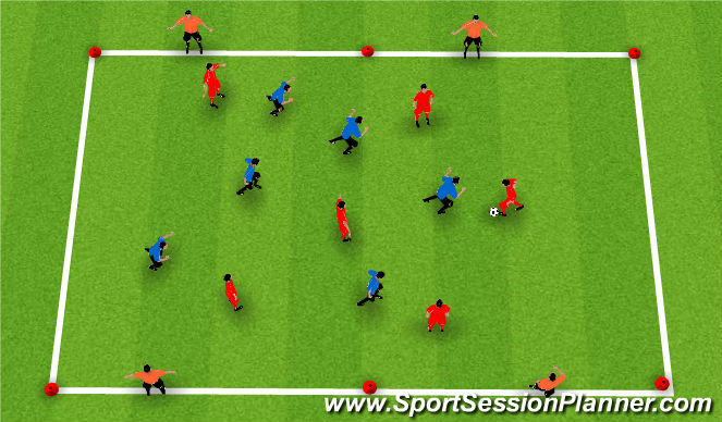 Football/Soccer Session Plan Drill (Colour): Possession End Line Game
