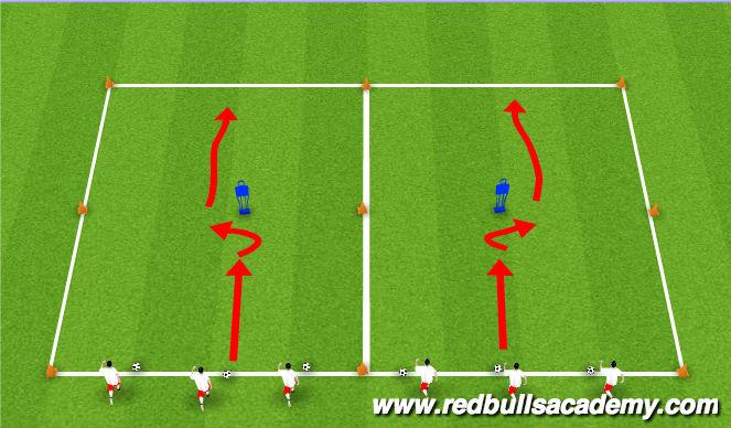 Football/Soccer Session Plan Drill (Colour): Dribbling Technique