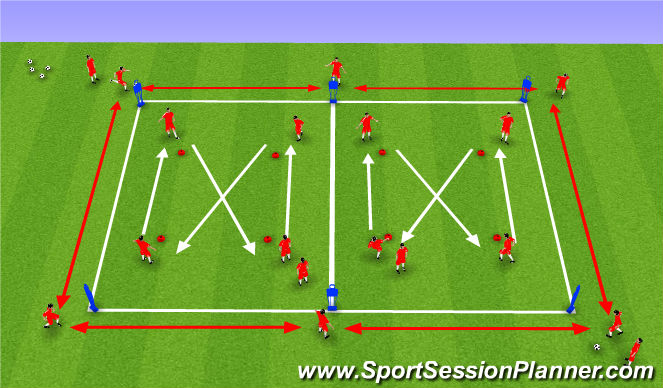 Football/Soccer Session Plan Drill (Colour): Technical 1st touch,passing& recieving